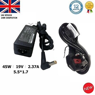 For Acer Laptop Charger Adapter  A13-045N2A 19V2.37A 45W 5.5x1.7mm + UK CORD • 11.49£