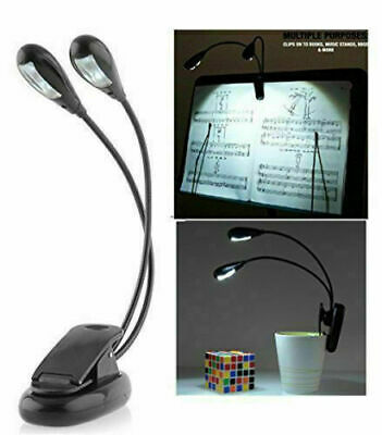Dual Arms Clip On LED Lamp For Bed Table Book Reading Light - Bendable (4 LED's) • 5.75£