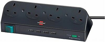 Brennenstuhl 4 Way Multi Socket Extension Lead + USB HUB + Surge Protection NEW • 29.99£