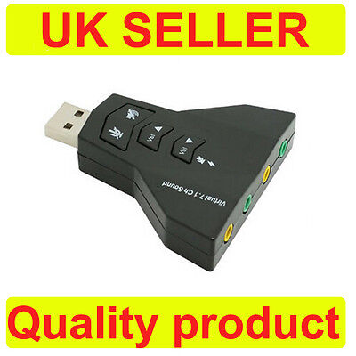 USB 2.0 Sound Card Adapter 7.1 Channel, 3D PC Laptop External Sound Card Adapter • 2.98£