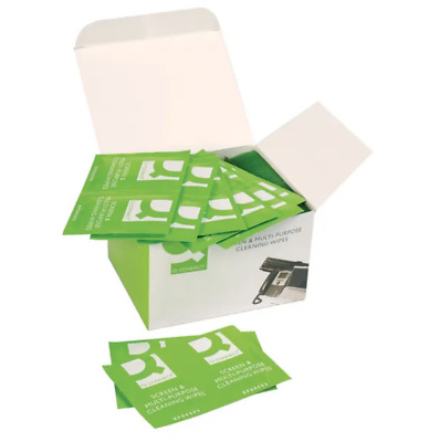 100 X  Q-Connect Screen & Multi-Purpose Wipes KF04503 - Free 24h Delviery • 7.95£