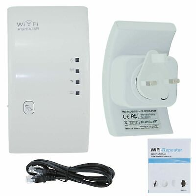 UK Plug 300Mbps Wifi Wireless N Repeater Internet Range Extender Booster Router • 13.99£