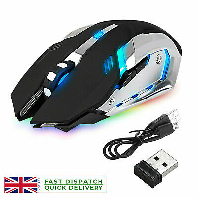 Led Laser Usb Wireless Optical Game Gaming Mouse Rechargable X7 • 9.89£