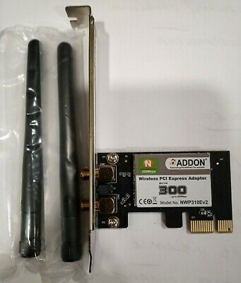 ADDON Wireless WiFi PCI-E PCI Express Adapter 300 Mbps 802.11N With Twin Aerials • 3.23£