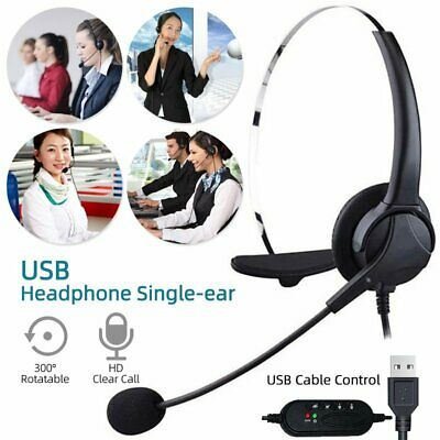 USB Headset Headphones Noise Cancelling Mic For Computer PC Laptop Call Center • 17.58£