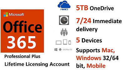 Microsoft Office 365 Pro 5 PC/MAC Lifetime -New Account-Complete Office2019/2016 • 2.90£