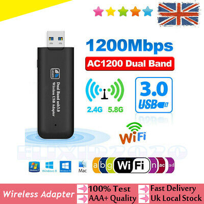 1200Mbps USB 3.0 Wireless Network Receiver WiFi Adapter 5GHz Dual Band Dongle UK • 9.59£
