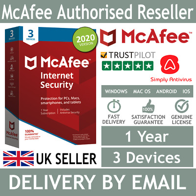 McAfee Internet Security 2020 3 Multi Devices 1 Year - 5 Min Delivery By Email* • 4.99£