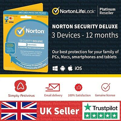 Norton Security Deluxe 2021 3 Multi Devices 1 Year - *5 Minute Delivery By Email • 13.49£