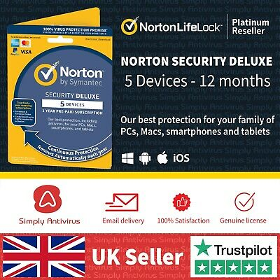 Norton Internet Security DELUXE 2020 5 Devices 1 Year - *5 Min Delivery By Email • 15.69£