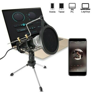 3.5mm Recording Condenser Microphone Mic Stand For Phone PC Laptop Skype Youtube • 11.99£