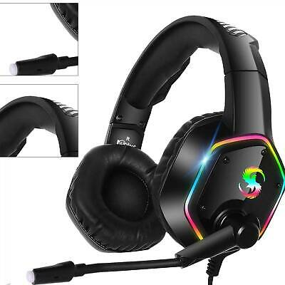 3.5mm Gaming Headset MIC LED RGB Headphones For PC Laptop PS4 PS5 Pro Xbox One • 15.39£