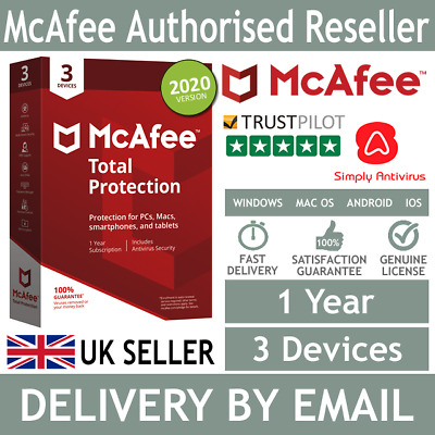 McAfee Total Protection 2020 3 Multi Devices 1 Year- 5 Minute Delivery By Email* • 9.99£