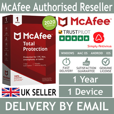 McAfee Total Protection 2020 1 Device 1 Year - 5 Minute Delivery By Email* • 7.99£