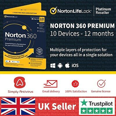Norton 360 Premium 2020 | 10 Devices | 1 Year + Secure VPN *5 Min Email Delivery • 22.30£