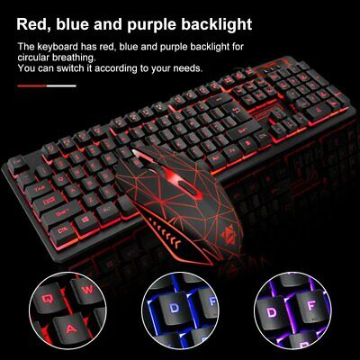 Gaming Keyboard And Mouse Set Bundle USB RGB LED For PC Laptop Xbox One PS4 UK • 15.99£
