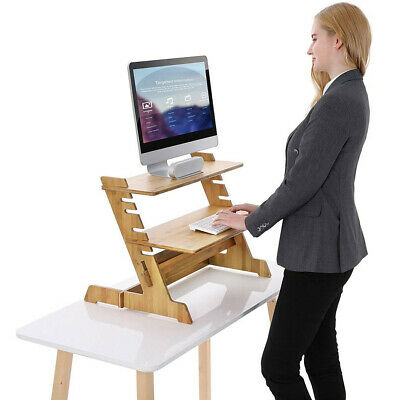 Bamboo Computer Desk Monitor Riser Stand Steady Up Laptop Workstation Converter • 49.98£