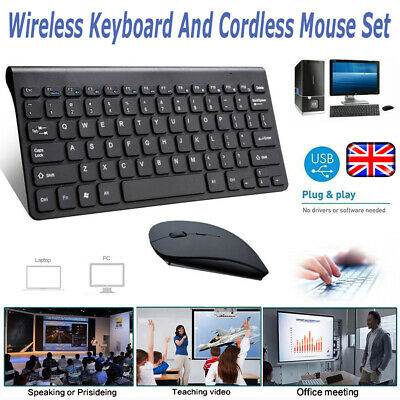 Wireless 2.4GHz Cordless Keyboard And Mouse Set For Computer Laptop Black/Wthie • 11.99£