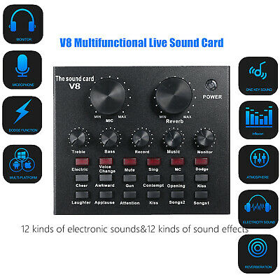 V8 External Sound Card USB Interface Audio Live Broadcast Microphone Mixer C1O8 • 16.79£
