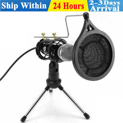 Adjustable Condenser Microphone Studio Recording Mic Set For PC Home Sing Game • 14.99£