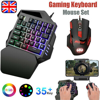Gaming Keyboard & Mouse Set RGB Wired USB LED Illuminated For PC PS4 Xbox One • 15.99£