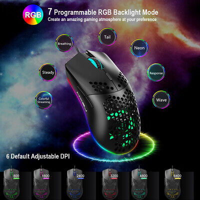 Lightweight Gaming Mouse RGB Backlit 6400 DPI Honeycomb Shell Mouse For PC PS4 • 11.59£