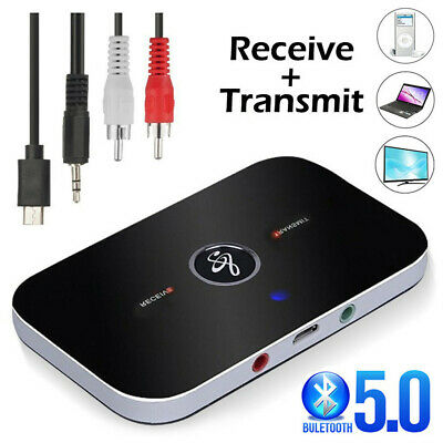 Bluetooth Wireless Audio Transmitter Receiver HiFi Music Adapter AUX RCA 2 In 1 • 7.99£