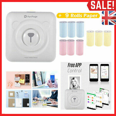 PeriPage Paper Photo Printer Mini Thermal With 9 Rolls Paper Pocket Wireless BT • 33.99£