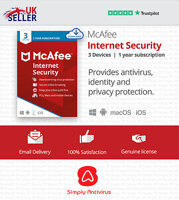 McAfee Internet Security 2021 - 3 Devices - 1 Year - 5 Minute Delivery By Email* • 6.49£