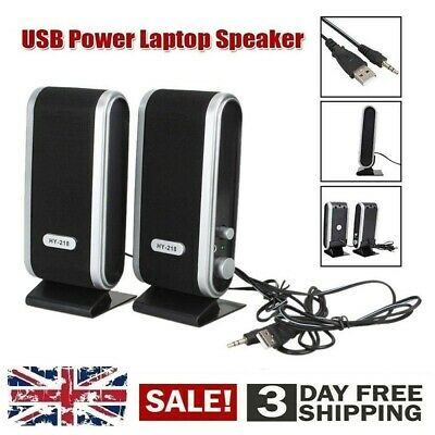 Pair PC Computer Laptop Speakers USB STEREO 6W Desktop Clear Sound Multimedia • 7.98£