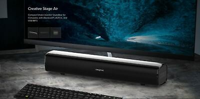 Creative Stage Air Compact Under-monitor Soundbar For Computer BT/AUX-in/USB MP3 • 21.99£
