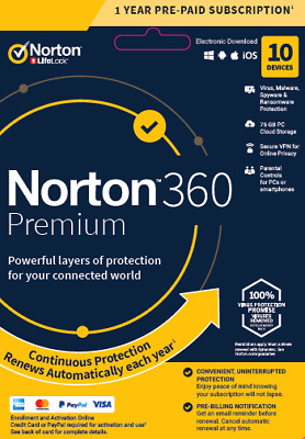 Norton 360 Premium 2021 - 10 Devices - 1 Year Subscription - Fast Email Delivery • 20.95£