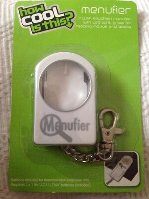 How Cool Is This, Keychain Magnifying Menufier With LED Light. • 2.99£