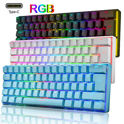 UK Layout 60% True Mechanical Gaming Keyboard 61 Keys Wired RGB Backlit Keypads • 31.89£