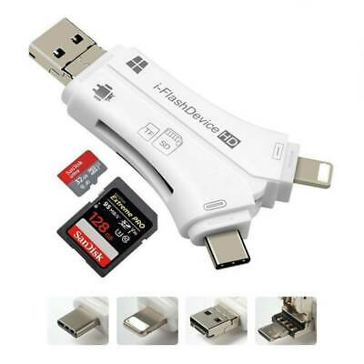 4in1 I-Flash Drive USB Micro SD&TF Memory Card Reader Adapter For Android IOS • 6.92£