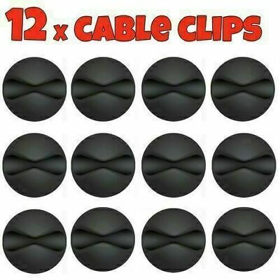 12x Black Cable Wire Cord Lead Drop Clips Usb Charger Holder Tidy Desk Organiser • 3.29£
