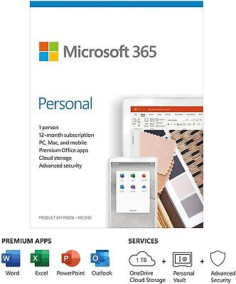 Microsoft Office 365 Personal 1 User 12 Month Licence Key 2021 Edition PC Mac • 42.95£