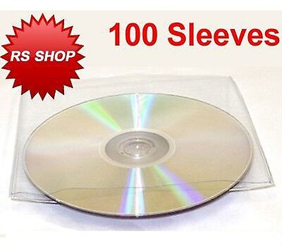 100 Cd Dvd Disc Plastic Sleeve Wallet Case With Flap • 3.39£