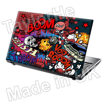 15.6  TaylorHe Laptop Vinyl Skin Sticker Decal Colourful Explosion Comic Boom • 8.95£