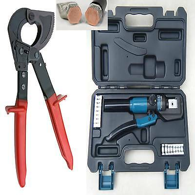 150²mm RATCHET CABLE CUTTER + HYDRAULIC 4-70mm CRIMPING ROPE TOOL KIT CRIMPERS   • 109.99£