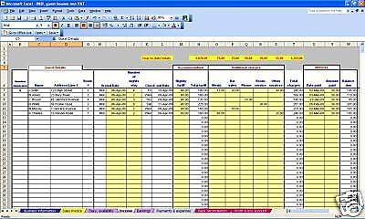 B&B Or Guest House Non-VAT Bookkeeping Spreadsheet Template For 2019 Year Ends • 13.99£
