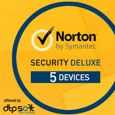Norton Security Deluxe 2020 5 Devices 5 PC 1 Year PC MAC Internet IOS 2019 UK • 15.99£