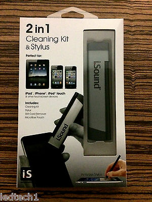 ISound 2 In 1 Cleaning Kit & Stylus For IPad, IPhone, IPod Touch & Others *BNIB* • 1.49£