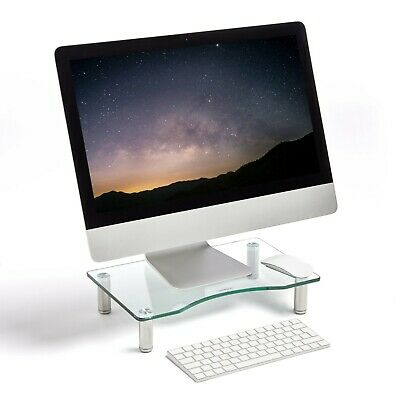 VonHaus Clear Monitor Stand | Computer Monitor TV Screen Riser | Curved Glass • 22.99£