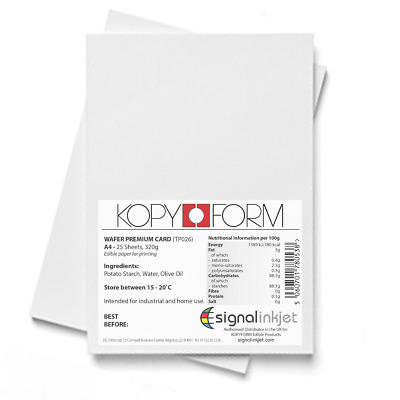 Edible Wafer Card (0.65 - 0.70 Mm) For Cake Toppers 50 Sheets A4 • 13.98£