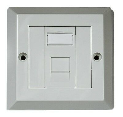 RJ45 Face Plate Wall Socket Cat5e Ethernet Single Gang 1 Port Standard UK Spec • 1.89£