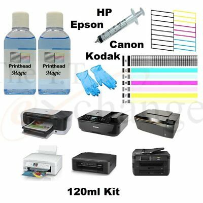 Printer Cleaning Kit 120ml Printhead Magic Fix Streaky Prints Unblock Nozzles • 8.55£