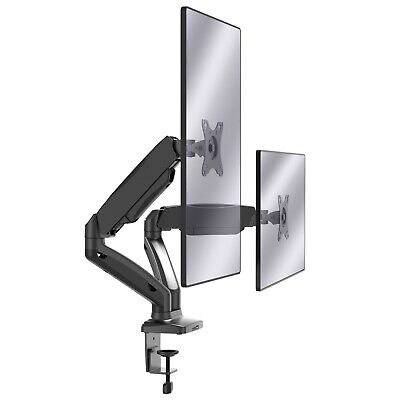 VonHaus Full Motion Dual Monitor Mount: Double Arm Desk Clamp For 13-27  Screens • 39.99£
