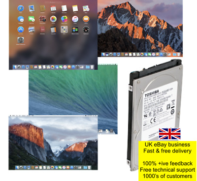 Refurbished HDD/SSHD/SSD With Pre-loaded Mac OS/OSX 10.x Various 160GB To 500GB • 75£