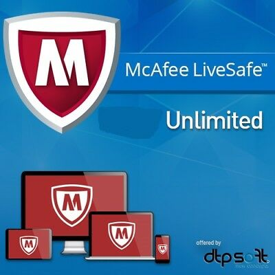 McAfee LiveSafe 2021 For Windows / Android / IOS - Unlimited Devices 2020 UK • 13.90£